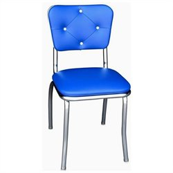 Richardson Seating Retro 1950s Button Tufted Diner  Dining Chair in Royal Blue