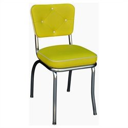 Richardson Seating Retro 1950s Chrome Diner Dining Chair with Button Tufted Back in Yellow