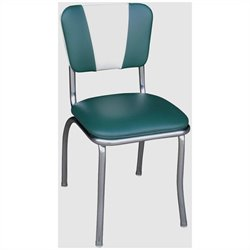 Richardson Seating Retro 1950s V-Back Chrome Diner  Dining Chair in Green and White