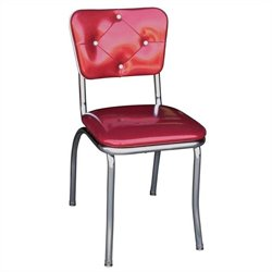 Richardson Seating Retro 1950s Button Tufted Diner  Dining Chair in Glittery Sparkle Red
