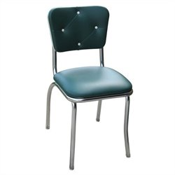 Richardson Seating Retro 1950s Button Tufted Diner  Dining Chair in Green