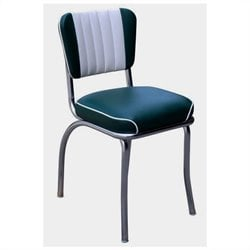 Richardson Seating Retro 1950s Waterfall Seat Diner Dining Chair in Green and White