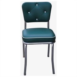 Richardson Seating Retro 1950s Chrome Diner Dining Chair with Button Tufted Back in Green