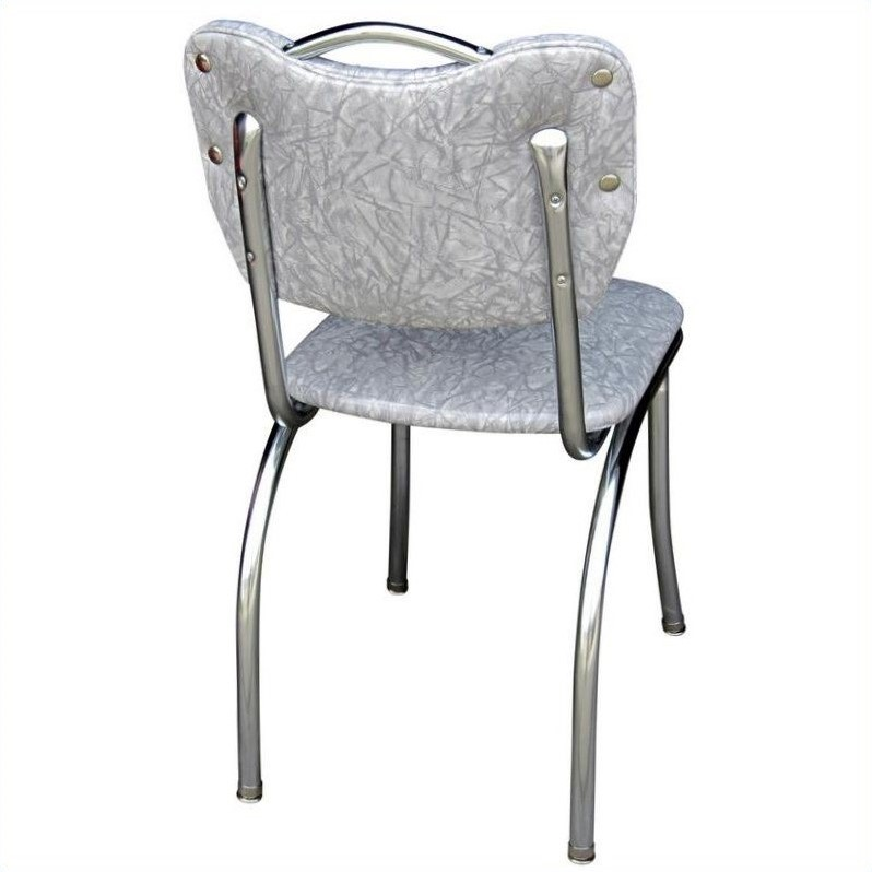 Richardson Seating Retro 1950s Handle Back Diner  Dining Chair in Cracked Ice Grey