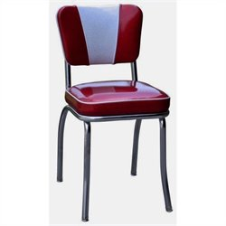Richardson Seating Retro 1950s V-Back Diner Dining Chair in Glitter Sparkle Red and Glitter Silver
