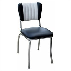 Richardson Seating Retro 1950s Two Tone Channel Back Diner Dining Chair in Black and White