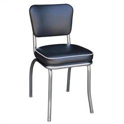 Richardson Seating Retro 1950s Chrome Diner  Dining Chair in Black