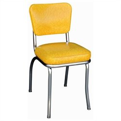 Richardson Seating Retro 1950s Chrome Diner  Dining Chair in Cracked Ice Yellow