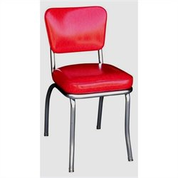 Richardson Seating Retro 1950s Chrome Diner  Dining Chair in Cracked Ice Red