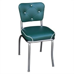 Richardson Seating Retro 1950s Chrome Button Tufted Back Waterfall Seat Diner Dining Chair in Green