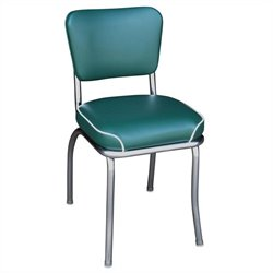 Richardson Seating Retro 1950s Chrome Waterfall Seat Diner  Dining Chair in Green