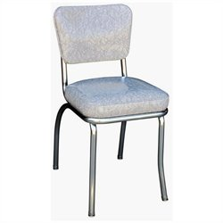 Richardson Seating Retro 1950s Chrome Diner  Dining Chair in Cracked Ice Grey