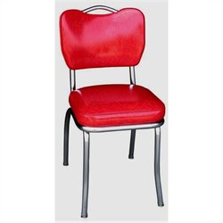 Richardson Seating Retro Handle Back Chrome Diner Dining Chair in Cracked Ice Red