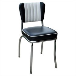 Richardson Seating Retro 1950s Diner Dining Chair in Black and White with 2