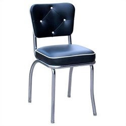 Richardson Seating Retro 1950s Chrome Dining Chair in Black