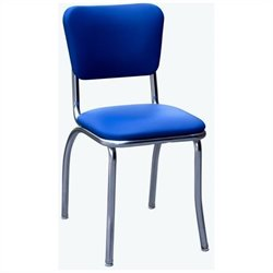 Richardson Seating Retro 1950s Chrome Diner  Dining Chair in Royal Blue