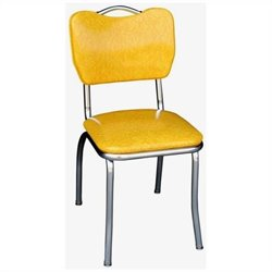Richardson Seating Retro 1950s Handle Back Chrome Diner Dining Chair in Cracked Ice Yellow