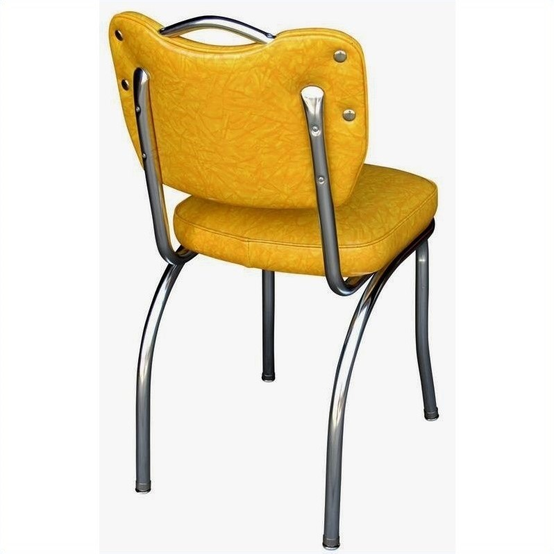 Richardson Seating Retro 1950s Handle Back Retro Kitchen Dining Chair in Cracked Ice Yellow