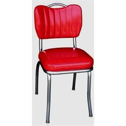 Richardson Seating Retro 1950s Handle Back Retro Kitchen Dining Chair in Cracked Ice Red