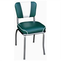 Richardson Seating Retro 1950s V-Back Chrome Waterfall Seat Diner Dining Chair in Green and White