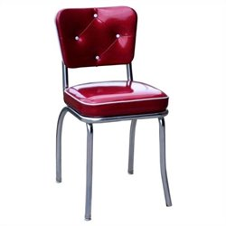 Richardson Seating Retro 1950s Button Tufted Kitchen Dining Chair in Glittery Sparkle Red