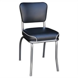 Richardson Seating Retro 1950s Chrome Waterfall Seat Diner  Dining Chair in Black
