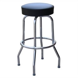 Richardson Seating Retro 1950s Backless Swivel Bar Stool in Black - 24