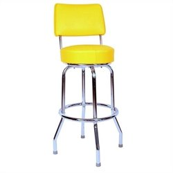 Richardson Seating Retro 1950s Chrome Swivel Bar Stool in Yellow