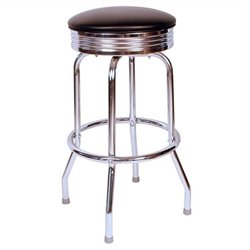 Richardson Seating Retro 1950s Chrome Swivel Bar Stool in Black - 24