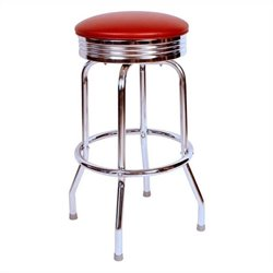 Richardson Seating Retro 1950s Chrome Swivel Bar Stool in Wine