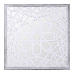 Renwil Winter Flora Decorative Mirror in Distressed White