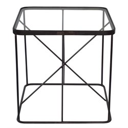 Renwil Blueprint Square Glass Top Accent Table in Raw Iron