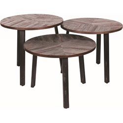 Renwil Three Leaves 3 Piece Accent Table Set in Brown and Black
