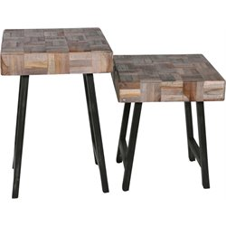 Renwil Eugene 2 Piece Accent Table Set in Brown and Black