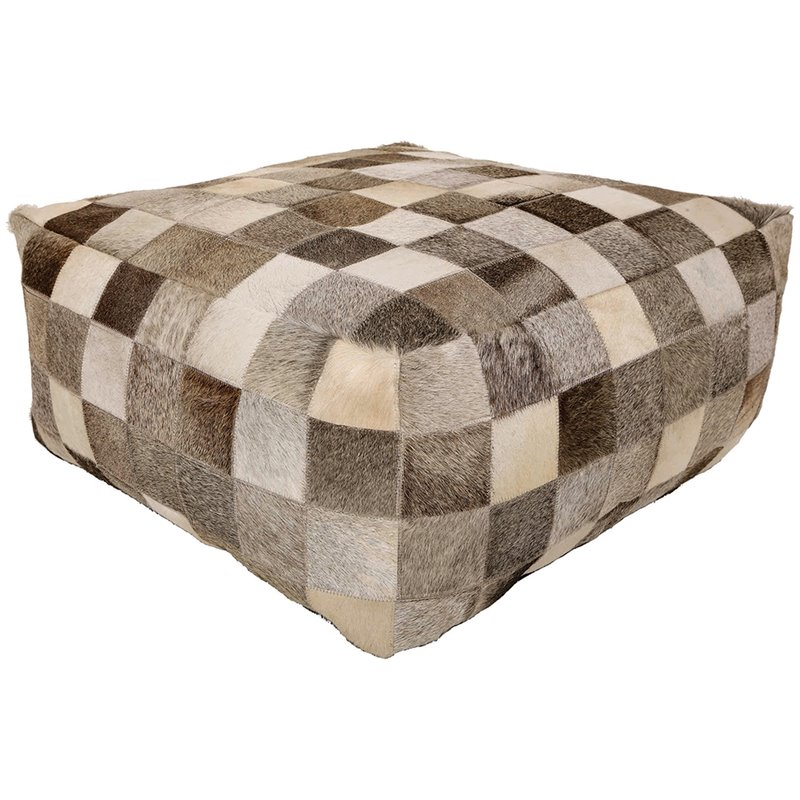 Renwil Marseille Faux Leather Pouf in Ivory and Gray
