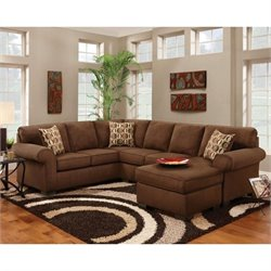 Chelsea Adams Microfiber Sleeper Sectional in Chocolate