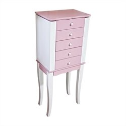 Mele and Co. Louisa Girl's Pink and White Jewelry Armoire