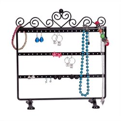 Mele Kara Scroll and Heart Jewelry Stand in Black