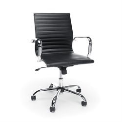OFM Essentials Swivel Ribbed Leather Executive Office Chair in Black