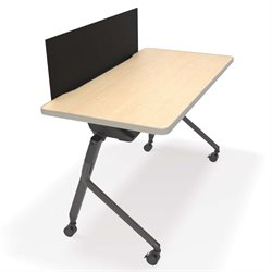 Mesa Privacy Panel Folding Table in Maple and Black