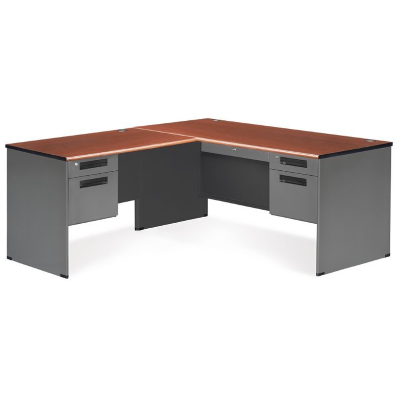 OFM Executive L Shaped Desk Shell In Cherry