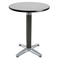 OFM Round Wire Metal Mesh Base Lunchroom Table in Gray Nebula