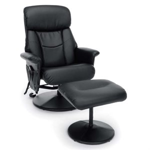 OFM Essentials Heated Shiatsu Massage Recliner and Ottoman in Black