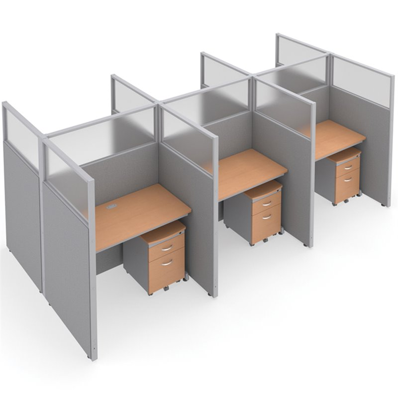 OFM RiZe 2 x 3 Privacy Workstation Unit in Gray and Maple