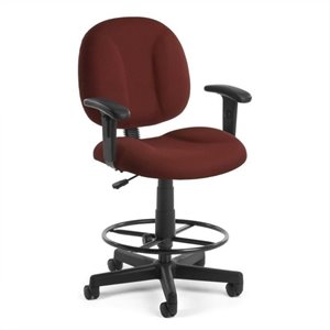 Office Chair with Arms and Drafting Kit in Wine