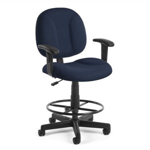Office Chair with Arms and Drafting Kit in Navy