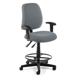 Posture Task Drafting Office Chair with Arms and Drafting Kit in Gray