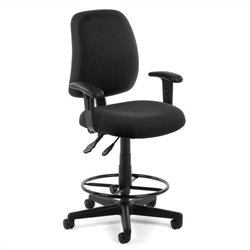 Posture Task Drafting Office Chair with Arms and Drafting Kit in Black