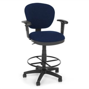 Lite Use Computer Drafting Office Chair with Arms and Drafting Kit in Blue