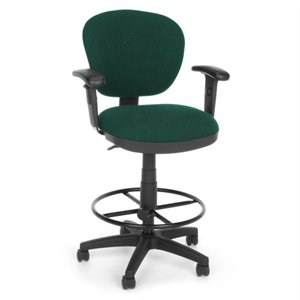 Lite Use Computer Drafting Office Chair with Arms and Drafting Kit in Teal